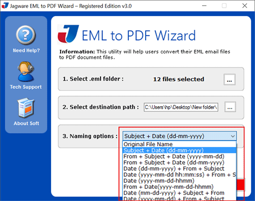 how to save eml as pdf
